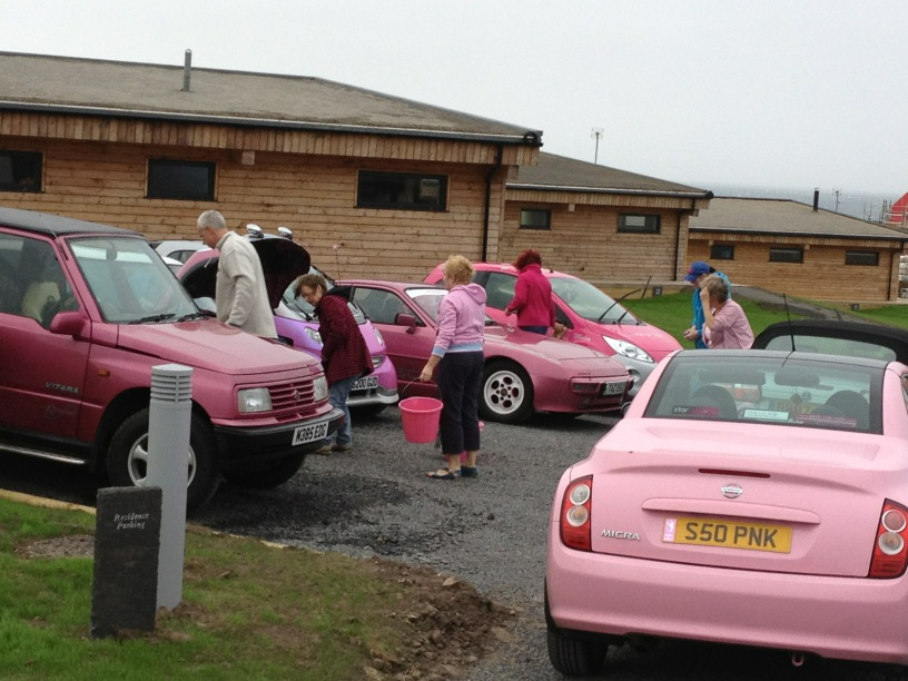 Pink Car Rally reaches Lands End